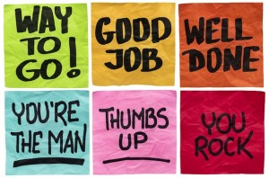 way to go, good job, well done, you're the man, thumbs up, you rock - a set of isolated sticky notes