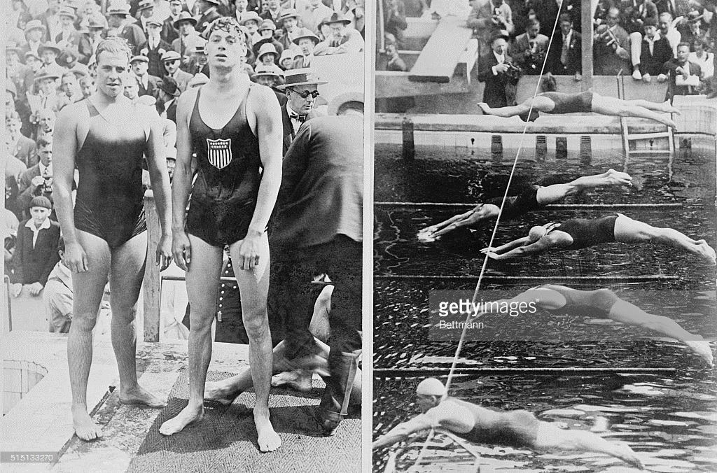 Johnny Weissmuller on right. Credit: Getty Images