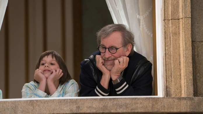 Director Steven Spielberg (right) and Actress Ruby Barnhill