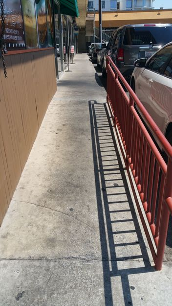 The picture shows one mall on Vermont Avenue's organized setup to accommodate the disabled. On the contrary, the photo below shows a setting at another property that does not provide as much accommodation for the disabled. The photos are not directly related to specific businesses.