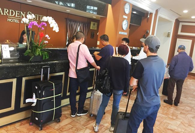 Tourists are checking in at Garden Suite Hotel in Koreatown. Even in fall, hotels in Koreatown are often full with tourists who flock into Los Angeles. Sang Jin Kim