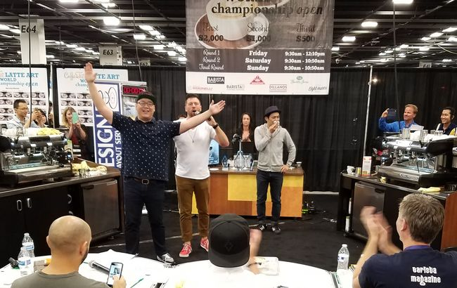 Barista Ji-hoon Kim, who is running a South Korea-based café Wooden Temper, finished runner-up in the latte art competition at the Coffee Fest Anaheim 2016.