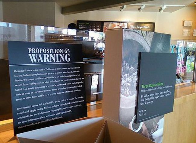 One coffee shop in Koreatown has recently put a warning sign related to Proposition 65. Lawsuits against businesses that violate it have been increasing as of late.