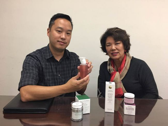 Protective founder Young Lee (on the right) explaining the company's product with her son Leonard Lee, who has now taken over the business from his mother.