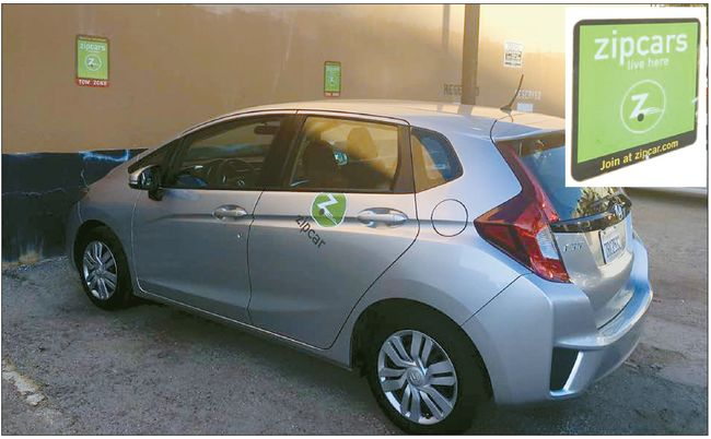 A Zipcar vehicle in the K-town LA, near 8th Street. [Photographed by Sung Yeon Lee, Korea Daily Los Angeles]