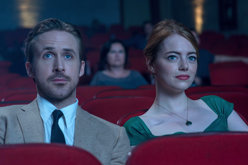 "Ryan Gosling, left, and Emma Stone in a scene from, ""La La Land."" [This image released by Lionsgate]"