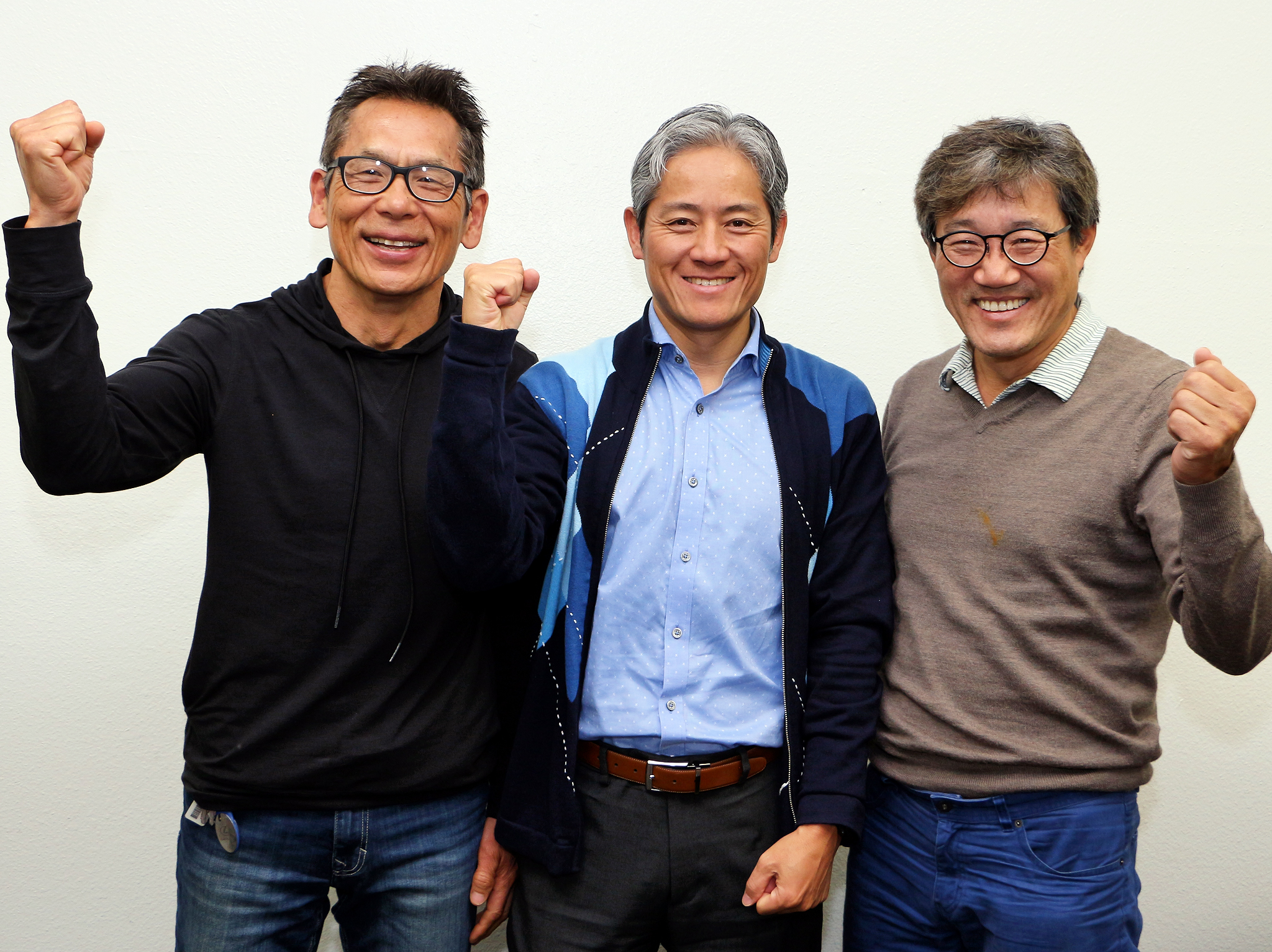 Korean American Triathlon Team chairman Nae-chang Park (from far left), manager Sean Lee and coach Jang-gyun Yoon are looking motivated as they look to accept new members.
