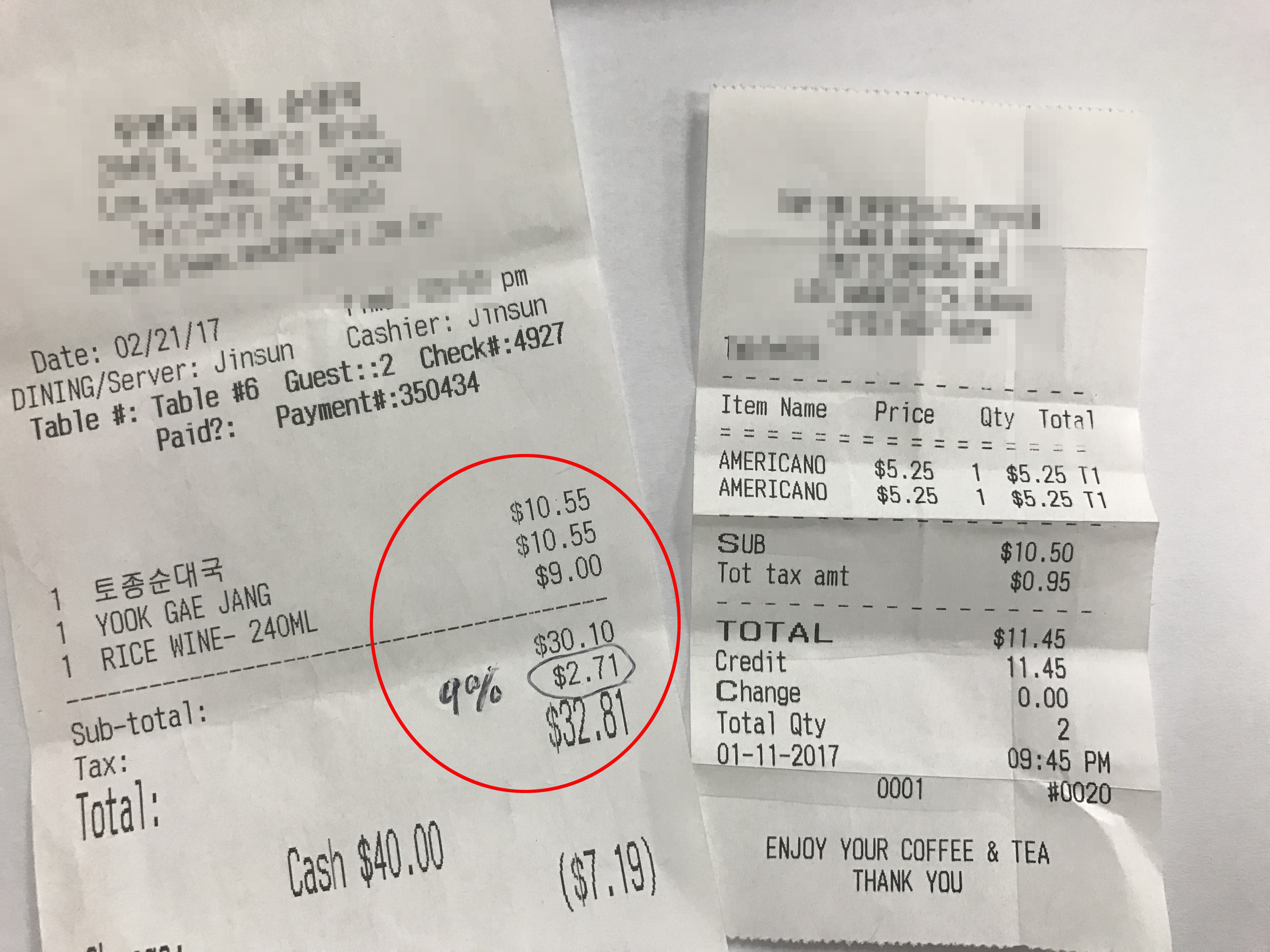Above is a recent receipts which show that customers have been charged 9 percent for each of their purchases.