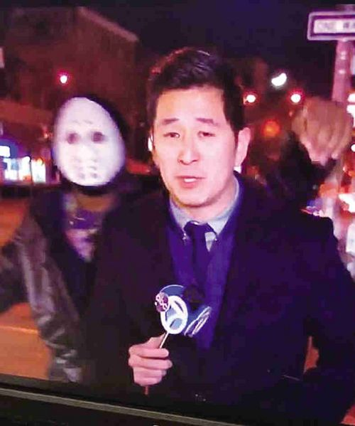 Masked man attacked reporter CeFaan Kim during live broadcast.
